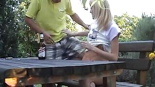 Young blonde daughter fucked in the garden by her stepfather