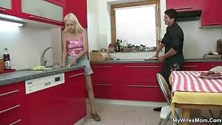 Mature whore fucked in the kitchen by her stepson