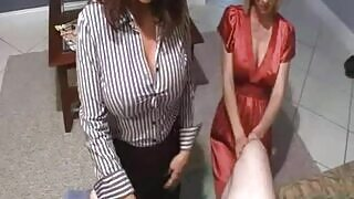 Threesome sex with mother and daughter sharing cock